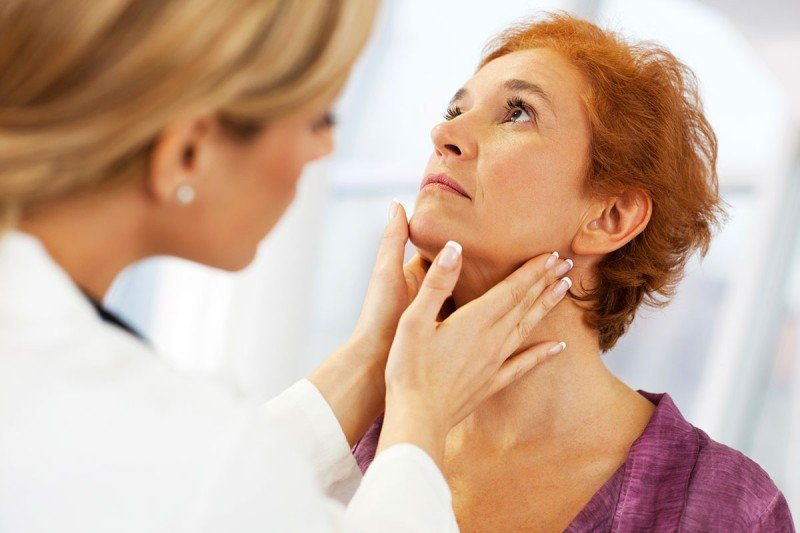 Female doctor examining woman's thyroid area (throat).