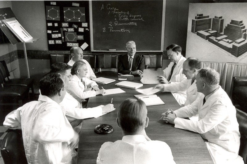 SKI scientists were pioneers of chemotherapy for cancer. Pictured here (from left to right) are Fred Philips, John Biesele, Christine Reilly, Joseph Burchenal, Cornelius Rhoads, C. Chester Stock, David Karnofsky, and George Woolley.