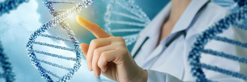 Illustration of a female doctor touching a strand of DNA