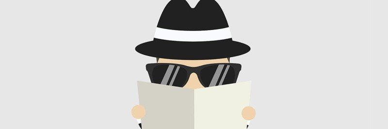 A cartoon of a person hiding behind a newspaper and sunglasses.
