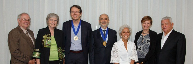 From left to right: Gregory Petsko, Dagmar Ringe, Michel Sadelain, Dario Campana, Myrna Gabbay, Isabelle Riviere, Kenneth Gabbay, Robert Mashal