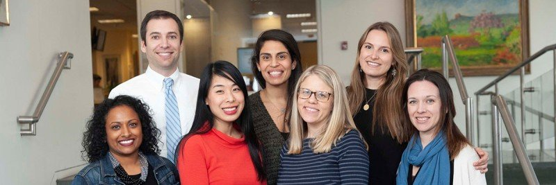 Our social workers are here to support you and your family. Clockwise from top left: David Sarfati, Natalie Santos, Hadley Maya, Johanna Tappen, Meredith Cammarata, Chelsea Chin, and Linda Mathew.