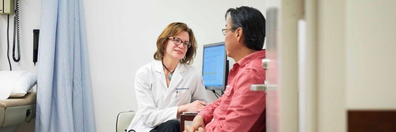 MSK medical oncologist Virginia Klimek meets with a patient