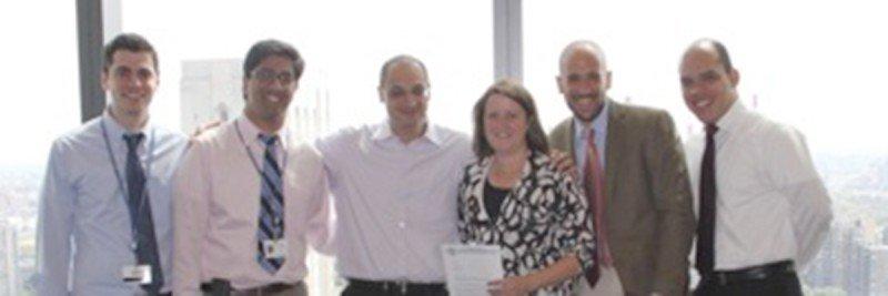 Memorial Sloan Kettering Cancer Center Primary Investigators from left to right:  David Hyman, MD, Raajit K. Rampal, MD, PhD, Omar Abdel-Wahab, MD, Kathy Brewer (ECD Global Alliance), Eli Diamond, MD, Juvianee Estrada-Veras, MD (NIH)