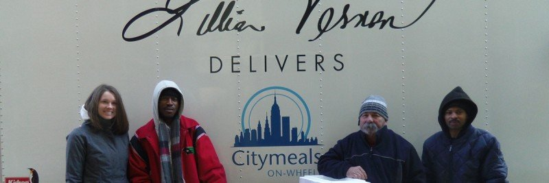 Allysia Matthews, with Citymeals-on-Wheels staff donating reusable ice packs