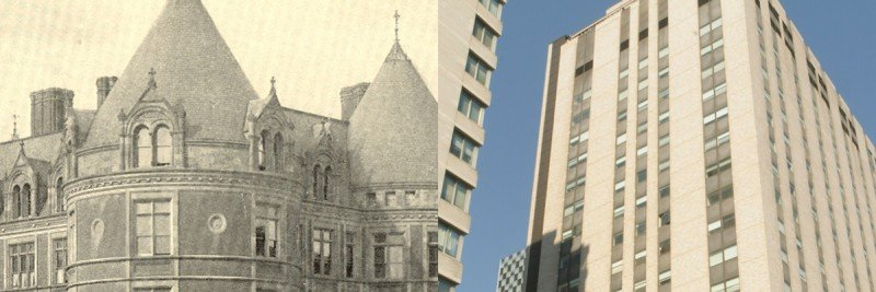 The original New York Cancer Hospital (left) and our current hospital on East 68th Street.